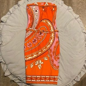 Cache strapless midi dress with belt